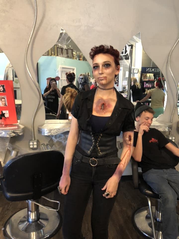 Injury makeup for halloween on girl
